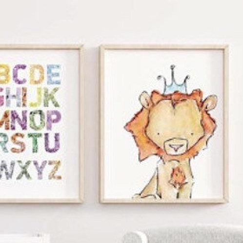 Watercolour Lion Print