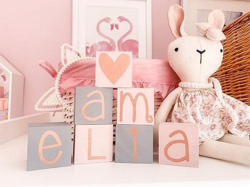 Rose Gold Letter Nursery Blocks