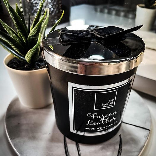 TUSCAN LEATHER WOOD WICK CANDLE