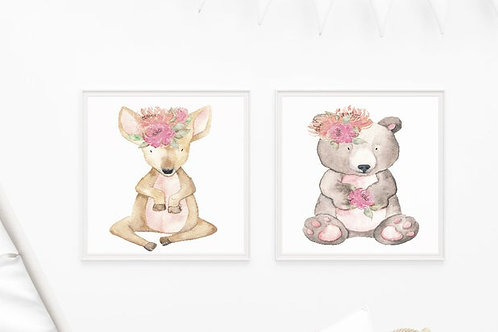 Watercolour Woodland Animal Prints
