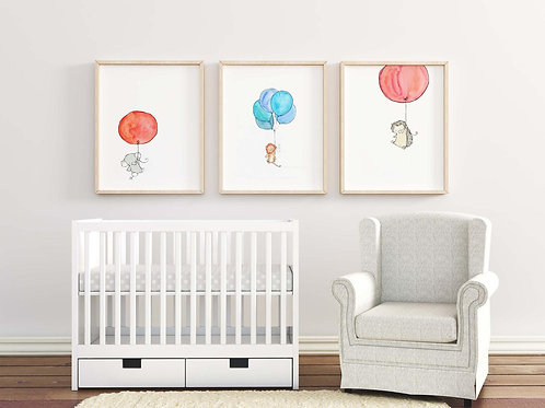 Watercolour Baby Animals with Balloon Print
