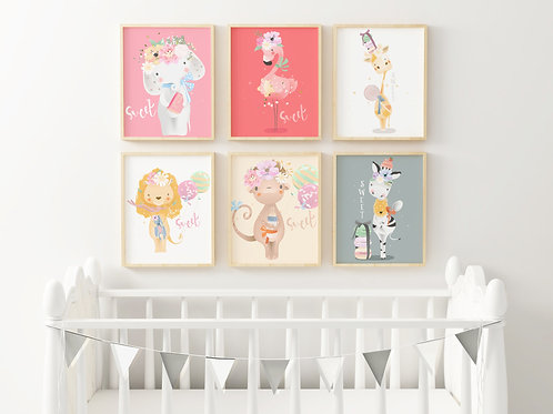 Cute Baby Animal (background colour) Prints