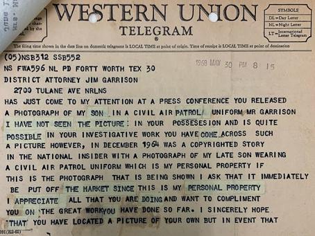 Marguerite Oswald Sends a Telegram to Jim Garrison