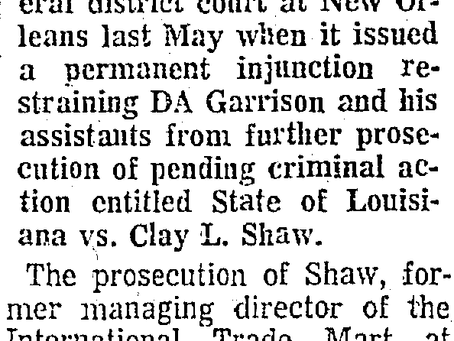 1972: Jim Garrison Releases Crazy Statement After the U.S. Supreme Court Rules Against Him.