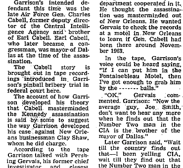 Jim Garrison Wanted to Charge General Charles Cabell