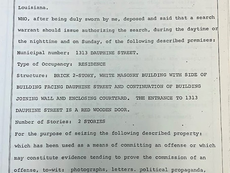 Search Warrant for Clay Shaw's Apartment