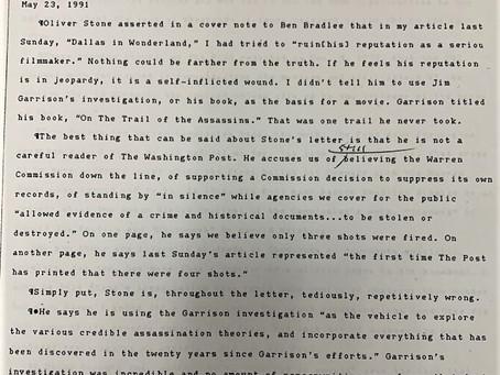 George Lardner's internal Washington Post Memo about Oliver Stone