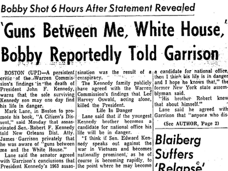 Did RFK Tell Garrison that there were guns between him and  the White House?