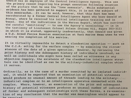 Jim Garrison's Memo on the Military Industrial Complex