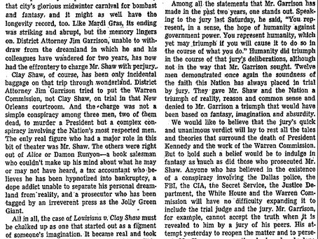 Washington Post Editorial on the Acquittal of Clay Shaw