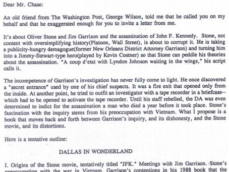 The Outline for a George Lardner/Harold Weisberg Book on Jim Garrison/Oliver Stone