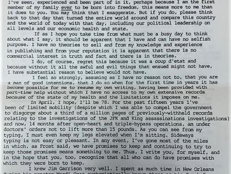 Harold Weisberg Writes Oliver Stone!