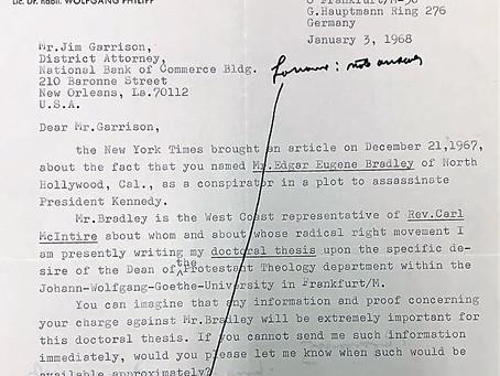 A Doctoral Candidate Writes Garrison about Edgar Eugene Bradley