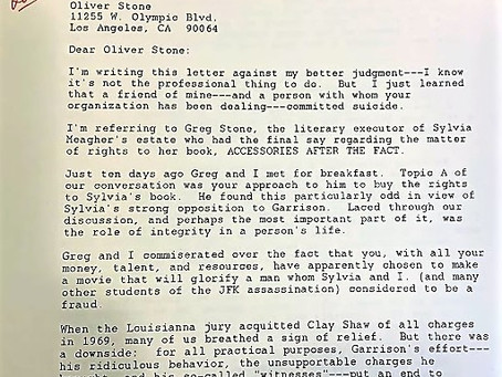 David Lifton Writes to Oliver Stone
