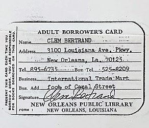 Clem Bertrand's Library Card...