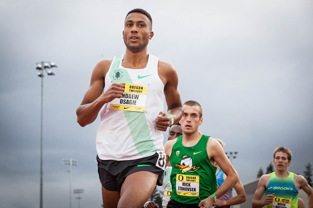 Andrew Osagie competing at UO Twilight 2017