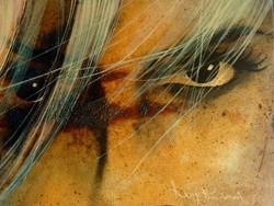 Eyes (30 x 20 cm) Oil on weatheredmetal
