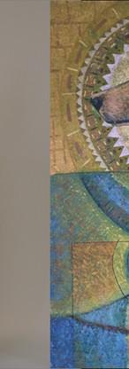 """Links """"Bergstad"""" van Jacqueline en rechts """"Presence"""" Acryl op linnen"""" (80x60 cm) van Roland"""