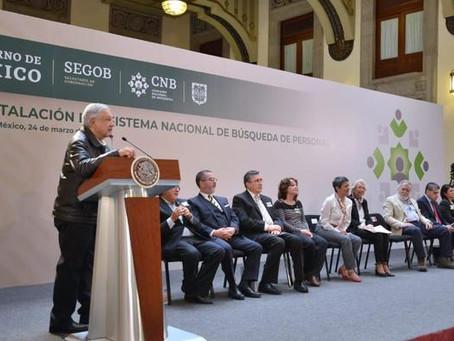 Pdte. López, durante la Reinstalación del Sistema Nacional de Búsqueda de Personas en México
