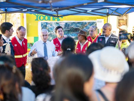 Pdte Piñera recorre zonas afectadas por incendios forestales en el Maule