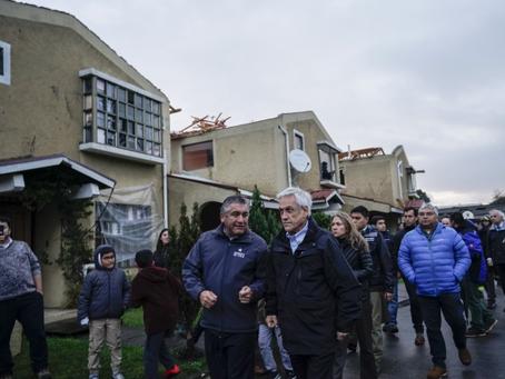 Pdte Piñera recorre Talcahuano y Concepción tras ser afectadas por un tornado