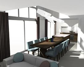 Projet de nouvelle cuisine avec îlot central et table de salle à manger, nouvau revêtement de sol et propositions de peintures.
