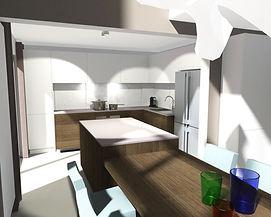 Projet de nouvelle cuisine avec îlot central et table de salle à manger, nouveau revêtement de sol et propositions de peintures.