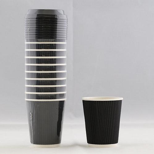 Rippled Black Paper Cup  8 Oz. - كوب ورقي أسود متموج 8 أوقيات