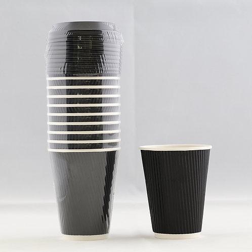 Rippled Black Paper Cup  12 Oz. - كوب ورقي أسود متموج 12 أوقيات