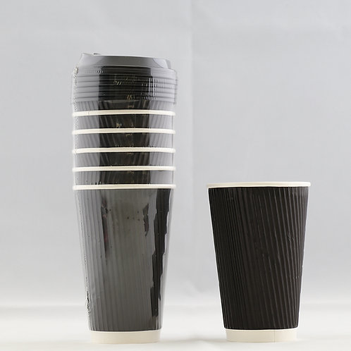 Rippled Black Paper Cup 16 Oz. - كوب ورقي أسود متموج 16 أوقيّة
