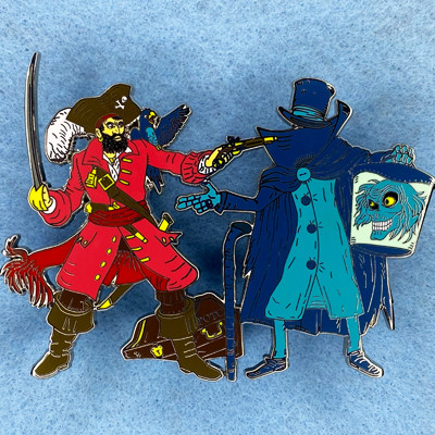 The Pointless Duel - Haunted Mansion & Pirates Of The Caribbean Disney Fantasy Trading Pin with Hatbox Ghost