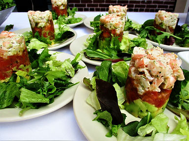 shrimp salad stack for catering