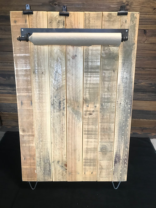 Wood easel with paper banner