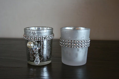 Silver votives (pearls and bling)