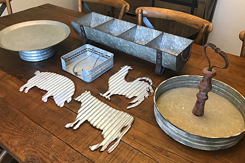 Galvonized farmhouse party set
