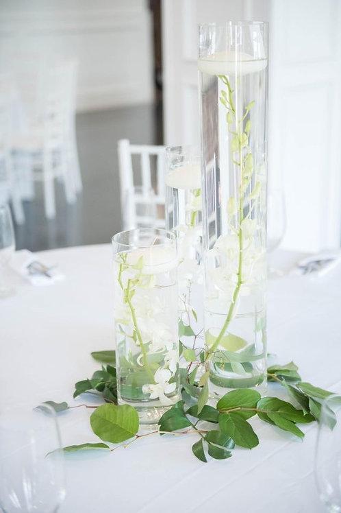Cascading glass cylinder vases