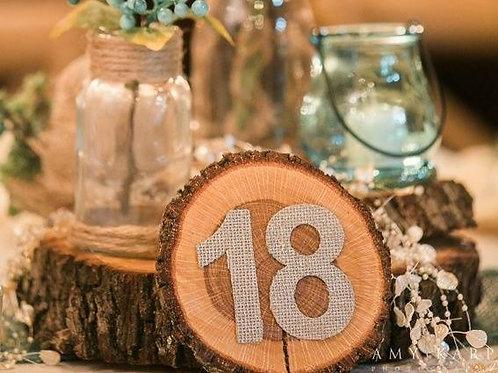 Wood slice table numbers - 18