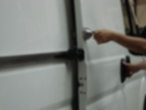 Close up photo of UFO+ in operation on sliding door
