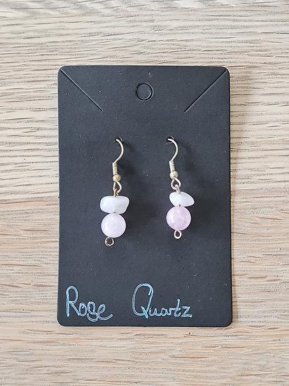 Rose Quartz Dangly Earrings