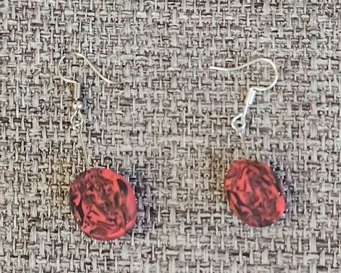 Black and Red Marble Earrings