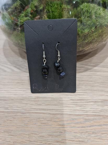 Black Pop Dangly Earrings