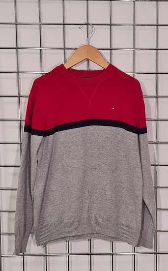 Tommy Hilfiger Grey and Red Jumper