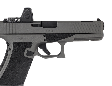 Custom Glock 17 with angled front cocking serrations, double undercut, Trijicon RMR slide cut and optic, and stippled frame with borders.