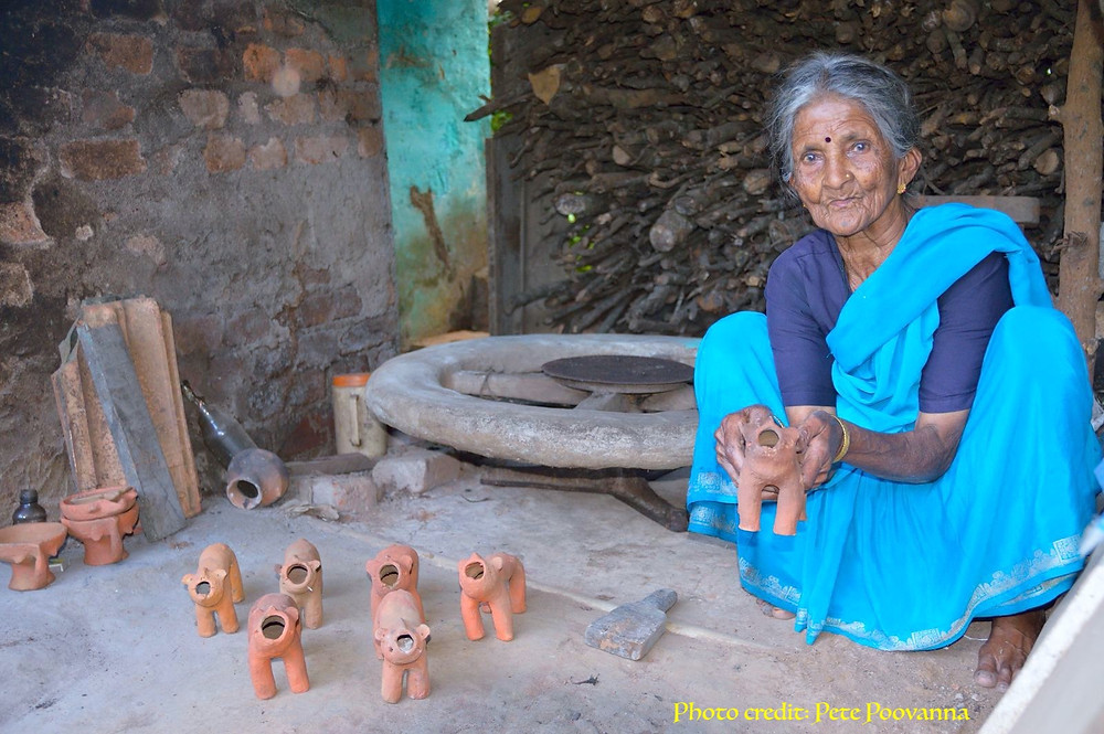 Chennamma, an Indigenous potter.
