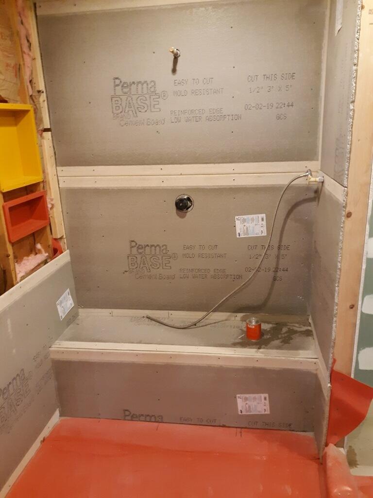 Bath tub area during construction