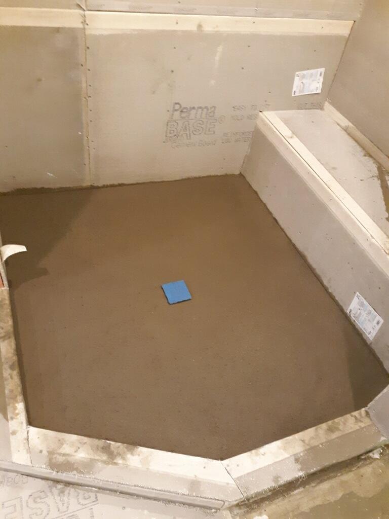 Shower area before Tile installation