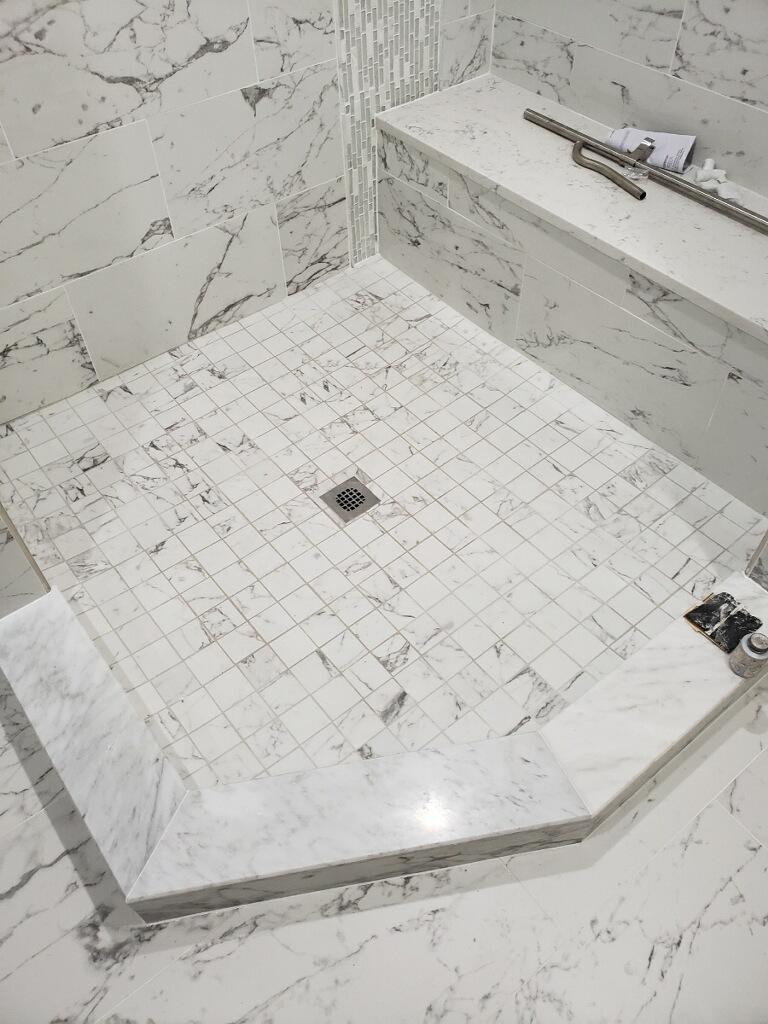 Shower area after tile installation