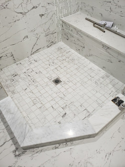 Shower area after tile installation