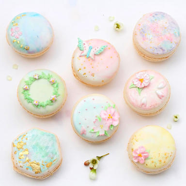Mix of spring macarons