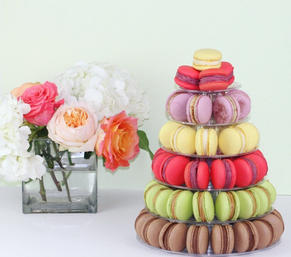 Bright colour macaron tower